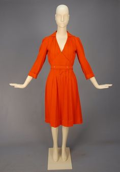 COURREGES WOOL CREPE DAY DRESS, 1970's