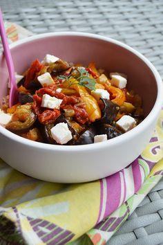 Salade céréales, légumes grillés et feta