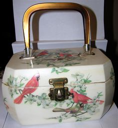 1950's Cardinal Bird Decoupage Box Purse