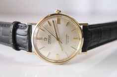 Vintage 14k Gold Omega Seamaster DE VILLE Automatic Men's Wrist Watch - Want this on a brown band