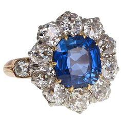Antique No Heat Ceylon Sapphire Diamond Gold Ring 1