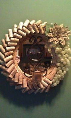 Wine cork wreath/mirror/candle