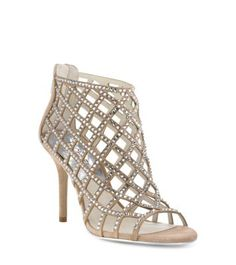 Lend ooh-la-la appeal to any look with our Yvonne cage pump. In luxe suede lattice, this Open-toe design is covered in pavé crystals for added opulence and finished with a back-zip closure for easy on and off. Go for high-volume glamour and team them with a scene-stealing cocktail dress or offset them with a simple blouse and skinny jeans.