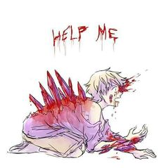 Anime gore art. Bloody, abused boy.