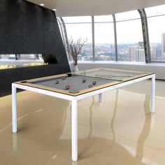 A new image of our American Slimline Pool Table. The metal frame of this table can be finished in any RAL colour you would like and the cushions in any of the wood colour options we offer. Check this table out and others at: luxury-pool-table. Pool Table Dining Table, Pool Tables, Ral Colours, Table Sizes, Table Dimensions, Ping Pong Table, Wood Colors, Types Of Wood, Decoration