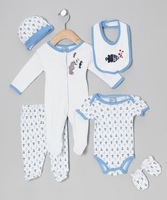 Look what I found on #zulily! Blue Undersea Bubbles Six-Piece Layette Set - Infant by Sweet & Soft #zulilyfinds