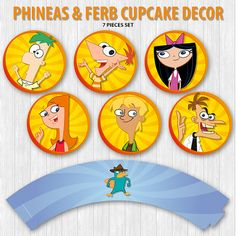 This listing is for an instant download of Phineas & Ferb Cupcake Decor. This set includes the following items:  • 6 Cupcake topper (2) • 1