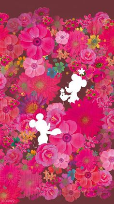 Mickey & Minnie | pink, art and flowers