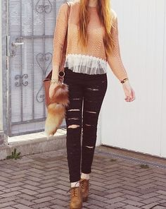 ripped pants with a sweet top <3