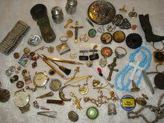 Vintage Junk Drawer Lot Advertising Silver Pill Box Jewelry Siam Cuff Links Fun | eBay