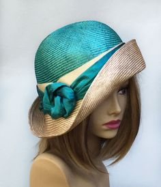 "Kentucky Derby, ""Fiona"", womens straw hat from the Downton Abbey era, silk dupioni sash, Millinery straw hat,"