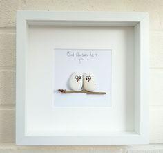 Pebble picture pebble art love owls birds owl gift idea home decor handmade | Home, Furniture & DIY, Home Decor, Wall Hangings | eBay!