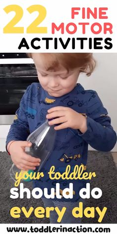 22 Toddler Activities your toddler should do every day to develop fine motor skills – - Kinderspiele Young Toddler Activities, Activities For 1 Year Olds, Motor Skills Activities, Montessori Activities, Toddler Play, Preschool Learning, Infant Activities, Educational Activities, Indoor Activities