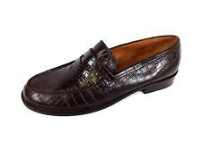 RALPH LAUREN Shoes LEATHER Brown CROC Slip On DRIVING Loafers WOMENS 8.5 B