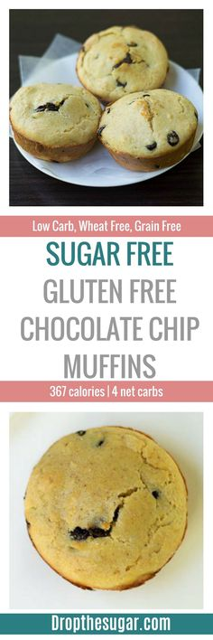 Sugar Free Gluten Free Chocolate Chip Muffins | an easy low carb muffins with almond flour and sugar free chocolate chips. Tastes just like store bought muffins! Pin now to make later! Low Carb Sweets, Low Carb Desserts, Low Carb Recipes, Atkins Recipes, Healthy Sweets, Healthy Recipes, Sugar Free Desserts, Sugar Free Recipes, Gluten Free Desserts