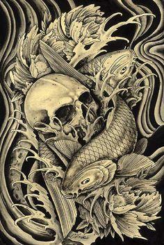 Mortality by Clark North Skull w/ Koi Fish Tattoo Canvas Art Print