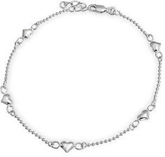 Bling Jewelry Small Heart Ball Chain Anklet Ankle Bracelet 925 Silver 9in.