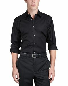 Harness-Strap Stretch Shirt, Black by Alexander McQueen at Neiman Marcus.