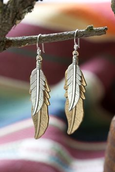 Mixed Metal Feather Earrings from MADE