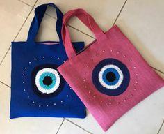 Evil Eye totes Eye 2 Eye, Evil Eye, Totes, Reusable Tote Bags, Handmade, Accessories, Design, Fashion, Hand Made