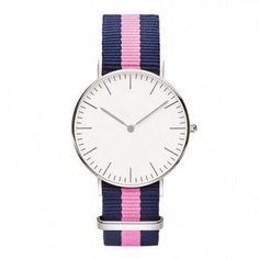 Yacht Club with 3-Stripe Blue & Pink Nylon Strap (Silver or Gold)