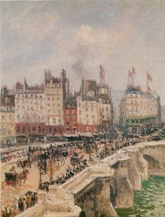 "Camille PISSARRO 1830-1903 - ""Pont Neuf"" - Oil on canvas 45 cm x 38 cm - painted in 1901"