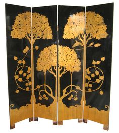 Paul Feher Art Deco Period Lacquered Ebonized & Parcel Gilt Screen Room Divider #ArtDeco