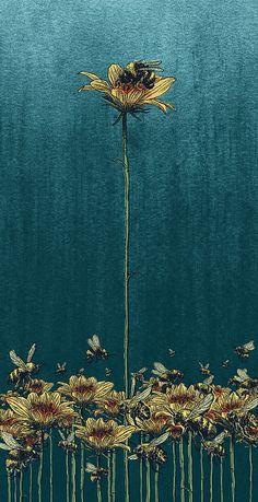 All The Things Nancy Loves - jimmypongo: Smart Bee by mario zucca illustration - Frida Art, Illustration Blume, Bee Art, Bee Keeping, Art Inspo, Framed Art, Cool Art, Art Photography, Images