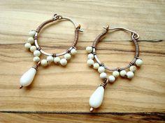 Small Hoop Earrings White Earrings Beaded Hoop by Weaversfield