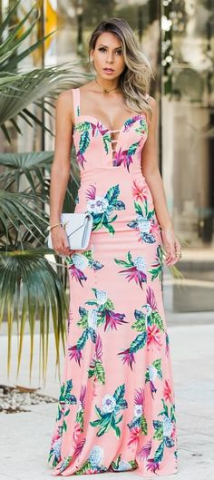 #summer #outfits Pink Floral Maxi Dress