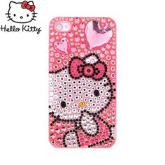 Officially Licensed Sanrio Hello Kitty AT/ Verizon Apple iPhone 4, iPhone 4S iDress Bling Hard Case, ID-28KT - Pink Heart & Bow Hello Kitty on Silver/ Pink Gems