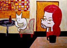 Cafe #illustration #contemporaryart #popart #comic #painting #catgirl #thinking