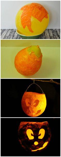 Kürbis-Laterne selber basteln DiY Krepppapier Transparentpapier Gesicht Halloween