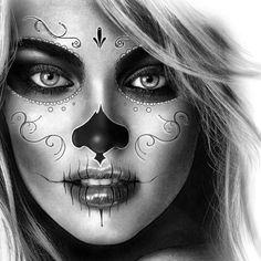Tattoo Oma, Chicanas Tattoo, Body Art Tattoos, Tattoo Drawings, Sleeve Tattoos, Sugar Skull Girl Tattoo, Girl Face Tattoo, Sugar Skull Art, Girl Tattoos