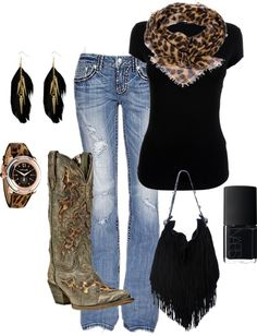 Basic black t with animal print scarf, jeans, boots and ...