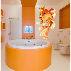 Full color decal Fish with crown sticker, Fish with crown wall art decal Sticker Decall size 48x65