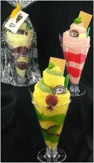Sorbet gemaakt van twee gasten doekjes in een glas, leuk als bedankje voor de zomervakantie.