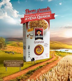 QUAKER Food Graphic Design, Food Poster Design, Creative Poster Design, Ads Creative, Creative Posters, Freelance Graphic Design, Creative Advertising, Advertising Design, Design Design