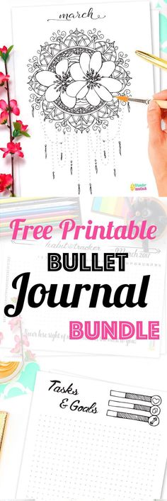 Bullet Journal Printable Kit � March 2017. Including Habit Tracker, Monthly Log and many more beautiful pages. // by Wundertastisch Design