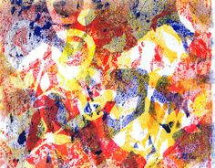 Primary Leaf Riot watercolor monotype on gelatin plate by Sharon Giles Gelatin, Plate, Watercolor, Abstract, Artwork, Prints, Painting, Pen And Wash, Summary