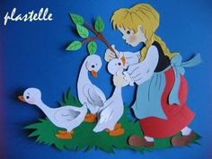 Dwa warianty prostej ilustracji przedstawiające sierotkę Marysię i gąski , która może zdobić gazetkę przedszkoloną czy też okno . Sch... Felt Kids, Diy And Crafts, Paper Crafts, Foam Sheets, Painted Books, Creative Kids, Spring Crafts, Tweety, Stencils