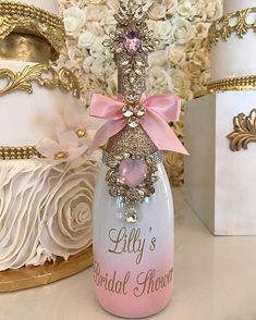 Lilly Ghalichi's Bridal Shower Bling Memory Bottle created by for her self 😍😍😍 Alcohol Bottle Decorations, Liquor Bottle Crafts, Diy Bottle, Bottle Art, Bedazzled Bottle, Bling Bottles, Champagne Bottles, Glitter Wine Bottles, Champagne Bar