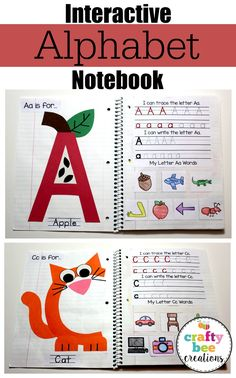 Alphabet Notebook This Interactive Alphabet Notebook is a hit in the classroom and with at home daycares! Students create a fun letter themed craft while practicing their letter writing and letter words.This Interactive Alphabet Notebook is a hit in the c Preschool Learning Activities, Preschool Lessons, Kindergarten Literacy, Preschool Classroom, Teaching Kids, Teaching Resources, Preschool Worksheets, Preschool Binder, Preschool Homework