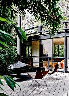 Porch in the backyard with lots of greenery