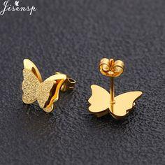 Jisensp Cute Stainless Steel Stud Earrings for Women Everyday Jewelry Gift Tiny Star Moon Earrings pendientes mujer moda Cute Stud Earrings, Small Earrings, Women's Earrings, Double Earrings, Ear Jewelry, Cute Jewelry, Jewellery, Gold Jewelry Simple, Gold Earrings Designs