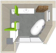 Badplanung mit freistehender Badewanne und abgegrenztem WC-Raum