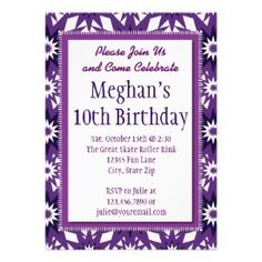 Purple Stars Pattern Birthday Party Invitations