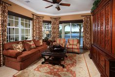 Designer window coverings including solar shades and black-out blinds includes, along with decorator ceiling fans and lighting.