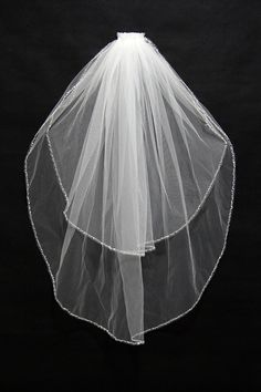 Simple Beaded Short White Wedding Veil 2 Layers