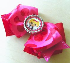 Lalaloopsy Bottlecap Hair Bow  www.fortheloveofzebra.etsy.com    Use Coupon Code PINTREST and get 20% off of your total purchase!